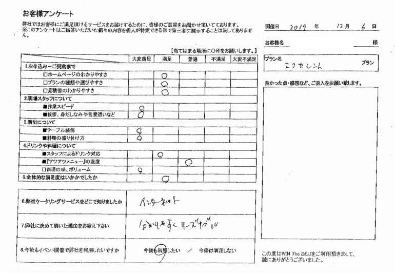 アンケート エクセレントプラン ケータリングジャパン